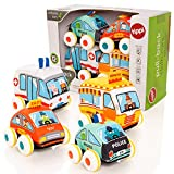 Tippi Pull Back Soft Vehicle Toy Set - Baby or Toddler Play Cars - Suitable From 9 Months + - Pullback or Push Along