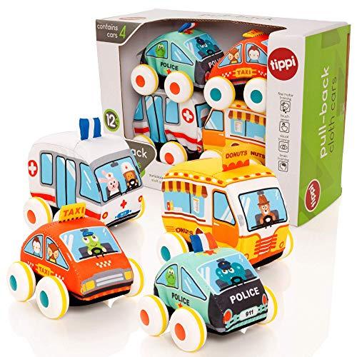 Tippi - Fahrzeuge aus Stoffspielzeug zum Ziehen - Spielautos für Babys oder Kinder - geeignet ab 9 Monaten + - zum Ziehen oder Schieben