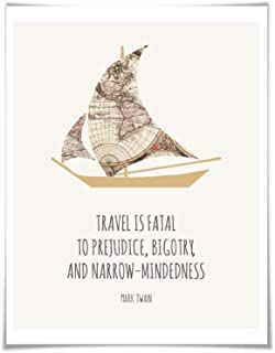 Travel is Fatal to Prejudice Mark Twain Quote Art Print. 5 Sizes. Sailboat World Map Travel Poster Adventure