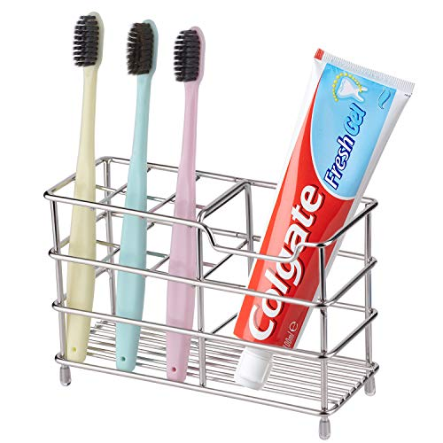 SENSOUSONG Tooth Stand Brush Toothpaste Storage Stand - Metal Steel Stainless Welding Drain Toothbrush Holder, for Bathroom, Razor, Cosmetics