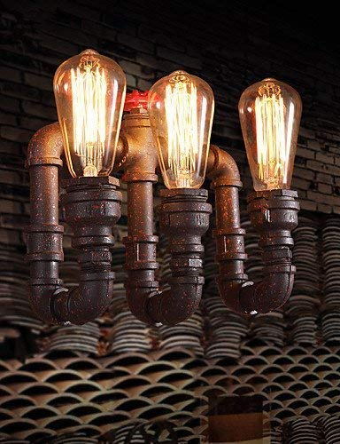 boaber Botella Lámpara De Pared Industrial Retro Bar Cafe Pasillo De Pasillo De Pared Personalidad Antigua Lámpara De Pared De Tubo De Hierro Forjado
