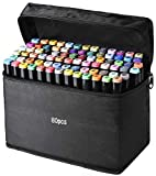 80 Colors Alcohol Markers Pen Set, Fany Artist Drawing Art Markers for Kids Adult Coloring Book Artist Dual Tip Markers Twin Permanent Markers Drawing Illustration (Black Shell)