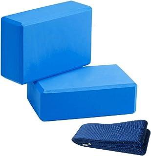 2 Yoga Blocks and Strap Set - High Density Eco-Friendly Foam Bricks 9 X 6 X 3 Inch, 6 Ft Metal D-Ring Straps, Improve Pose...