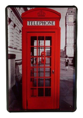 Plaque de Telephone Cabine de téléphone Rouge 20 x 30 cm publicité Retro Tôle 95