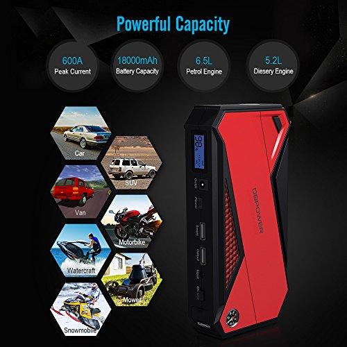 DBPOWER Arrancador portátil de coche 800A Peak 18000mAh (hasta 7.2L Gas/5.5L Diesel Engine) Booster de batería portátil con pantalla LCD (rojo)