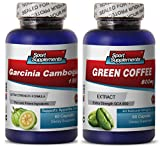 Perfect Garcinia Cambogia and Honest Green Coffee Bean Extract - Green Coffee Extract 800mg - Herbal Green Coffee Bean Extract to Promote Well-Being and Energy (2 Bottles 120 Capsules)