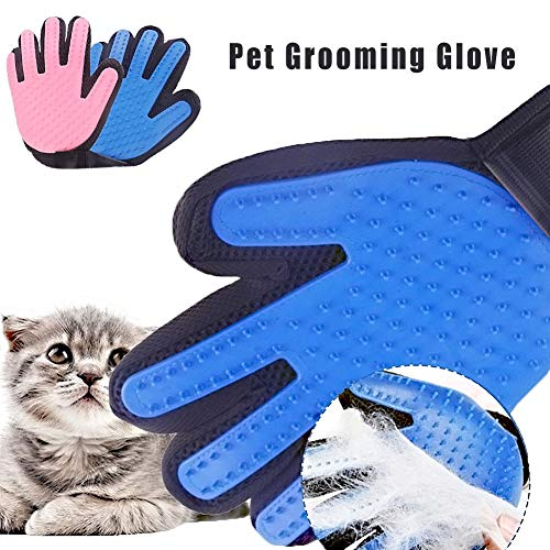 Pet Grooming Glove Gentle Deshedding Brush Silicone Srooming Glove Efficient Pet Hair Remover Mitt Massage Tool with Enhanced Five Finger Design for Dogs Cats with Long Short FurC