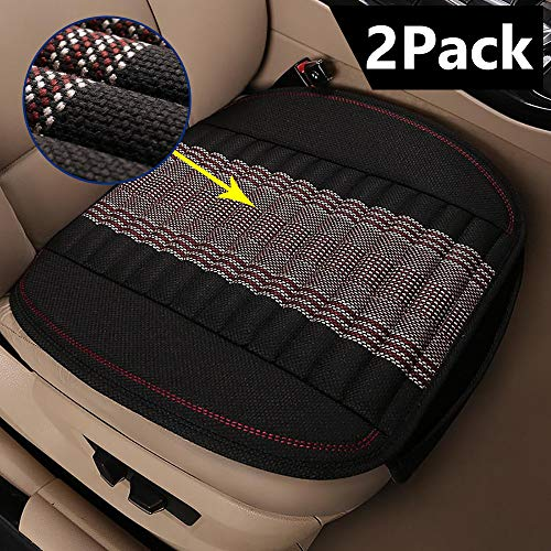 EifBrisa Car Front Seat Cushion Cover Pad Mat for Auto Supplies Office Chair Universal Anti-Slip, Natural Linen Fabric & Bamboo Charcoal Prevent Leather Seats from Burning in Summer & Jeans Fading