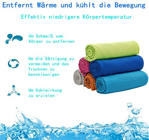 Voarge Pack of 6 Cooling Towel Microfibre Cold Towels 90 x 30 cm Absorbent Beach Towel with Cooling Function for Fitness Sports Golf Football Travel