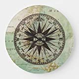 Irinay Reloj De Pared Antiguo Brújula Náutica Chic Casual Mapa Madera Redonda Decorativa 30 5 Cm Reloj De Pared Antiguo Diseño Vintage Estilo Moderno Moderno (Color : Colour, Size : Size)