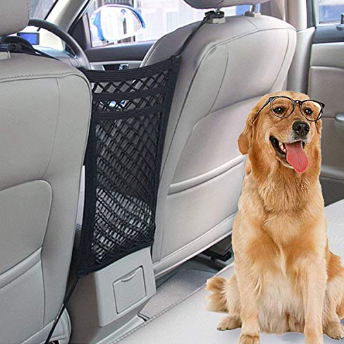 Dog Car Barrier, Dog Car Net Barrier Auto Safety Mesh Organizer with Adjusting Rope and Hook,Pet Barrier Backseat Mesh Dog Car Divider Net for Cars, SUVs - Safe Driving with Children and Pets