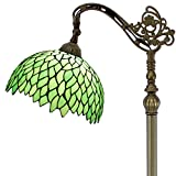 Tiffany Style Reading Floor Lamp Lighting W12H64 Inch Green Wisteria Stained Glass Lampshade Antique Adjustable Arched Base S523 WERFACTORY Lamps Living Room Bedroom Beside Table Desk Lover Gifts