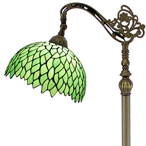 Green Wisteria Stained Glass Tiffany Style Reading Floor Lamp Wide 12 inch Height 64 inch for Living Room