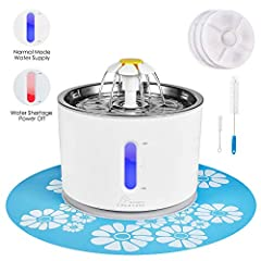[3 filters, 2 brushes, 1 mat and stainless steel top]: High grade stainless steel top is unbreakable, durable and easy to clean. Stainless steel top is hygienic and dishwasher-safe. Pet fountain includes stainless steel top, 3 carbon filters, 2 clean...