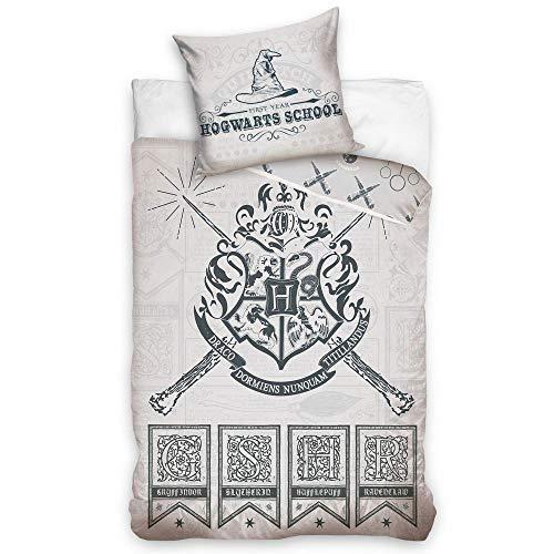 SETINO Harry Potter Bettwäsche-Set, Bettbezug 140x200 + Kissenbezug 65x65 cm, Baumwolle