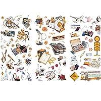 3枚日記ステッカー日本食フラワーフルーツ和紙紙ジャーナルスクラップブッキングアルバムDIYステッカーノートブックカレンダーラベルデコレーションキッズ子供学生(食品)
