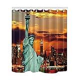 Die Freiheitsstatue & New York City Skylines als den Hintergr& Bad Vorhang Polyester-175,3x 177,8cm Schimmelresistent-Vorhänge Dusche Haken enthalten Fantastische Dekorationen