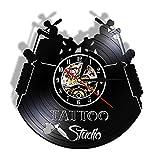 hhhjjj Estudio de Tatuajes Nombre Comercial Personalizado Reloj de Pared con Registro de Vinilo Retro Salón de Tatuajes Ceremonia de Apertura Regalo Tatuador Decoración del hogar Luz