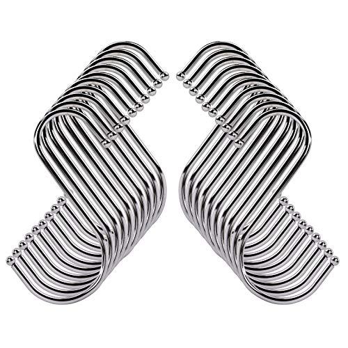 S-Haken Edelstahl Metall S-förmige Haken 10cm S Hängende Haken mit Kugelenden für Aufhängen Küchengeräte, Utensilien, Handtücher, Kleidung, Pflanzen, Gartengeräte 20 Stück (Silber)