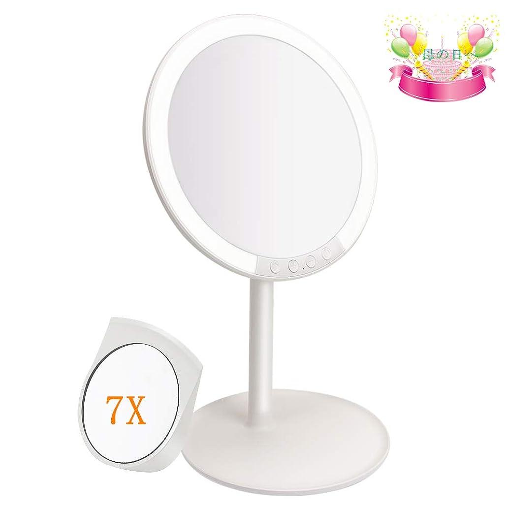 十代の若者たち女の子劇作家化粧鏡 卓上 化粧ミラー 66LEDライト 3色光モード MANLI 7段階調光 USB式 7倍拡大鏡 女優ミラー 180度回転 収納ベース