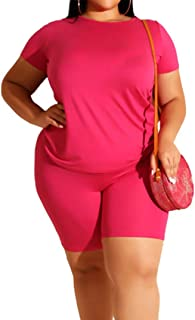 MAYFASEY Women's Two Piece Outfits Sets Tracksuit Set Short Sleeve T Shirts Tops Skinny Short Pants Shorts Rompers Plus Si...