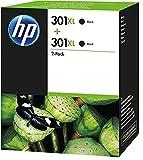 HP 301XL D8J45AE, Negro, Cartuchos de Alta Capacidad Originales, Pack de 2, para impresoras de inyección de tinta HP DeskJet 1050, 2540,3050; OfficeJet 2620, 4630; ENVY 4500, 5530