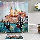 LISNIANY Conjunto De Ducha Cortina Alfombra,Venecia Acuarela de Venecia Paisaje Urbano Sereno Góndolas Antiguas Scenic,Uso en baño, Hotel