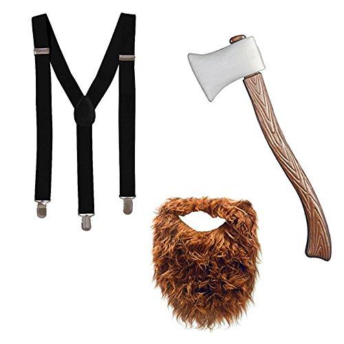 Tigerdoe Lumberjack Costume - Woodsman Costume - Lumberjack Party - Suspenders, Fake Beard, Axe 3 Pc Set Black and Brown