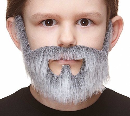 Mustaches Fake Beard, Self Adhesive, Novelty, Small On Bail False Facial Hair, Costume Accessory for Kids, Gray with White Color