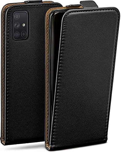 moex Flip Hülle für Samsung Galaxy A71 - Hülle klappbar, 360 Grad Klapphülle aus Vegan Leder, Handytasche mit vertikaler Klappe, magnetisch - Schwarz