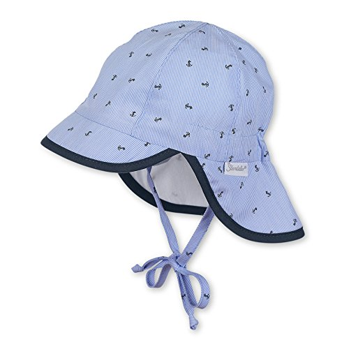 Sterntaler Schirmmütze mit Bindebändern und Nackenschutz, Alter: 4-5 Monate, Größe: 41, Hellblau (Himmel)