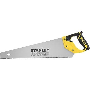 Stanley 2-15-595 Scie Égoïne JetCut Coupe Fine 450 mm Fabriquée en France - 11 dents/ Pouce - Traitement HardPoint - Lame en Acier - Poignée Bi matière - Traçage À 45° et 90