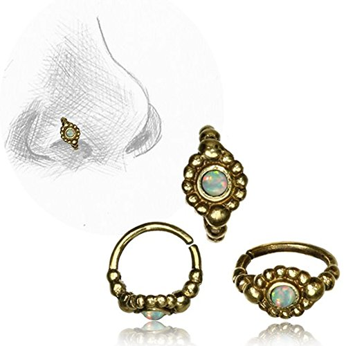 Chic-Net Nostril Stecker Nasenringe Piercing antik golden Messing Stein 0.8 mm