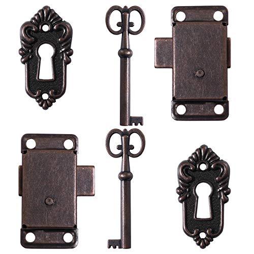 YARNOW Juego de 2 juegos de cerraduras antiguas con llaves y