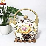 ViewSys Tetera, Juegos de té Tea Pots esmaltado Hervidor teteras Ollas Espesado Fondo Plano Esmalte Caldera Caldera Jarra Leche Tetera Tetera Fogón de Gas Universal 2.5L Taza de té,