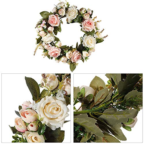 Wankd Bloemenkrans, handgemaakte krans, deurkrans, handgemaakte kunstbloemendecoratie voor thuis, feesten, deuren, bruiloften