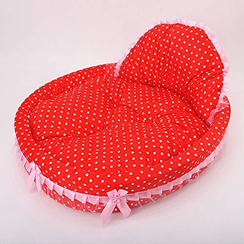 QDCITT - Juego de cama de princesa para mascotas (50 x 38 x 11 cm), diseño de flores, color rojo