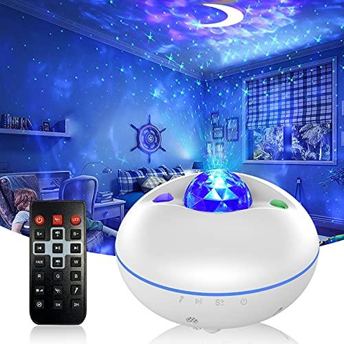 LED Proiettore del Cielo Stellato, Luci Notturne con Telecomando, Altoparlante Bluetooth, Timer, Controllo Vocale, LED Luce Rotazione Nebulosa per la...