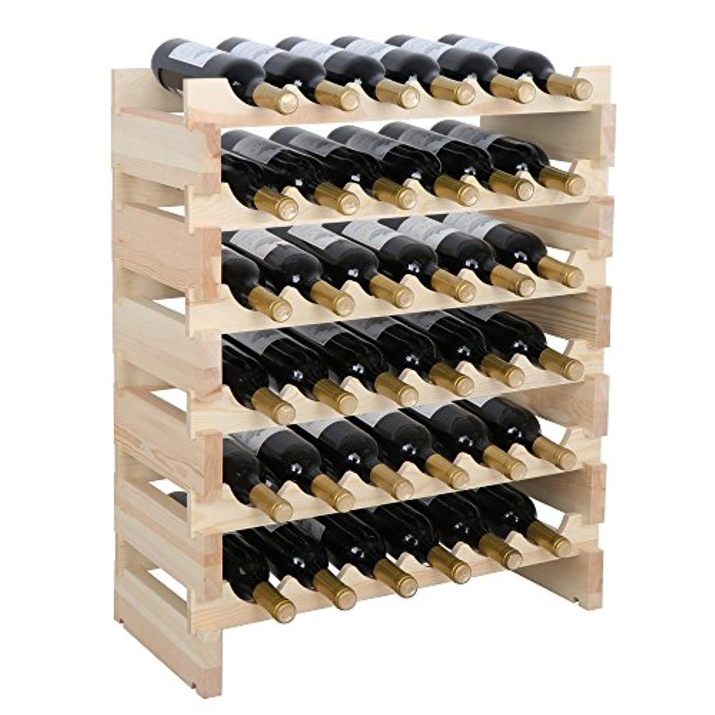 smartxchoice 36 Bottle Modular Wine Rack, Stackable Wine Storage Rack Free Standing Floor Wine Holder Display Shelves, Solid Wood - Wobble-Free (36 Bottles)