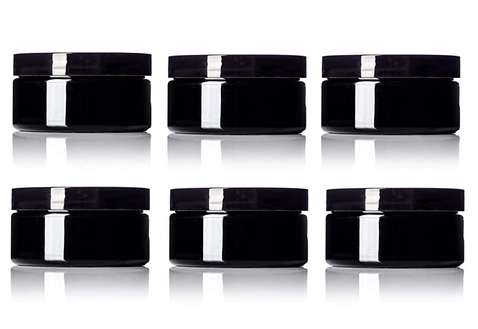 6 Pack - 8 oz Black PET Wide Mouth Single Wall Jar with Black Lids 89-400 neck