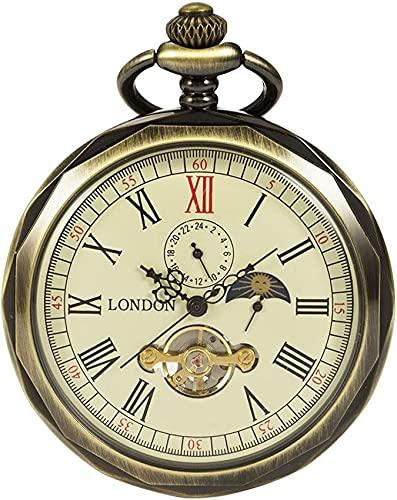Reloj de bolsillo Reloj de bolsillo mecánico de cara abierta clásica Caja con bordes de bronce Esfera especial con mesa giratoria de luna y sol Pantalla de 24 horas Pantalla de 12 horas para hombres