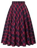 Vintage A-line Skirt Cocktail Party Red Grid Print Size L KK633-2