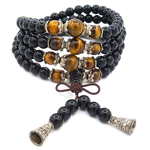 6 mm Obsidian-Armband, 108 Perlen, Mala, tibetisch, buddhistisch, Buddha, Tigerauge, Halskette