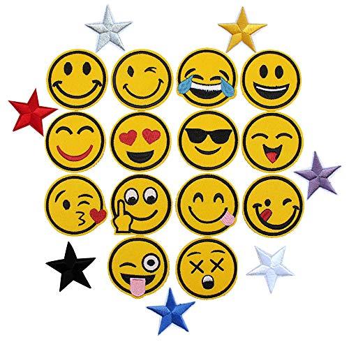 21 PCS Patch Sticker, Cute DIY Ropa Parches Para la Camiseta Jeans Ropa Bolsas Infantiles / 14 Emoji Parches Decorativos, 7 Parches Termoadhesivos Estrella Dorada Bordada/