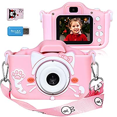 Langwolf Kids Camera for Girls, Digital Camera for Kids Toys Children Selfie Photo Video Camera with 32GB SD Card, Gifts for Girls Age 3 4 5 6 7 8 9 10 11 12 13 Years Old by