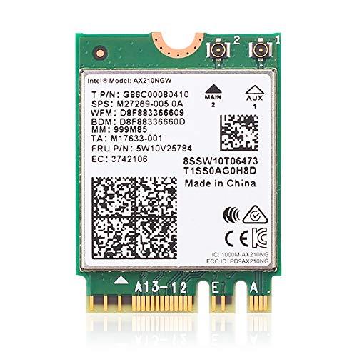 Hersmay AX210NGW Tarjeta wifi, Wi-Fi 6E 11AX módulo inalámbrico ampliado a 6 GHz MU-MIMO Tri-Band adaptador de red interno con Bluetooth 5.2 para portátil, compatible con Windows 10 64 bits, M