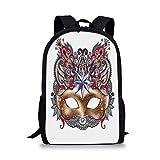 HOJJP ñ mochila escolar von ruedas Mardi Gras Stylish School Bag,Venetian Carnival Mask Silhouette with Ornamental Elements Masquerade Costume Decorative for Boys,11''L x 5''W x 17''H