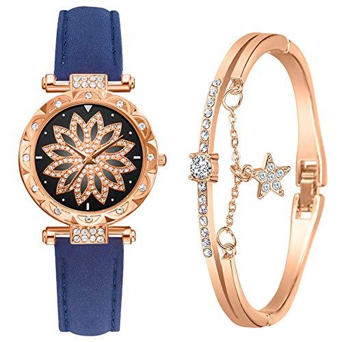 MEITING Luxusuhren für Damen, Damen Armbanduhr Uhren und Armreif Set Armband Schmuck Leder Quarz Armbanduhr Kristall Diamant Armband Hochzeit Täglich Mama Frauen Schwestern