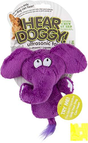 HEAR DOGGY! Mini Flattie Elephant with Chew Guard Technology and Silent Squeak Technology Plush Dog Toy