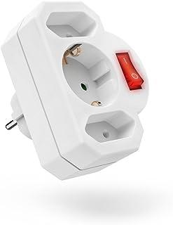 Hama 3-fach Steckdosenadapter mit Schalter zum Stromsparen Multistecker 2x Eurosteckdose & 1x Schutzkontakt Mehrfachsteckdose, Adapterstecker, Doppelstecker weiß